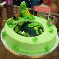 Pond Cake For a pool party... my niece loves turtles so I created this cake with a jello filled pond and little critters.
