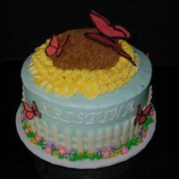 Butterfly Garden Fondant fence and plunger flowers, chocolate butterflies.