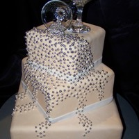 Spilled Champagne Wedding Cake