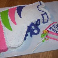 Skate Rollerblade skate cake cut from a 9 x 13 cake and used mini cupcakes for the wheels. Colors were requested by the birthday girl.