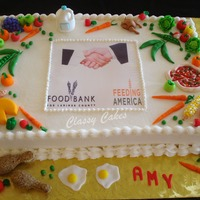 Food Bank This was for a girl who works at the Food Bank and loves her job! All the food was handmade from fondant.