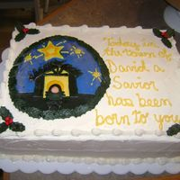Christmas Cake For Church   Nativity cake for local church christmas dinner. Buttercream with fondant decorations.