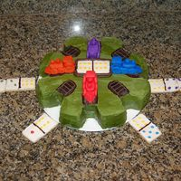 Mexican Train Cake  Made this for the dads in our family for Father's Day - Mexican Train is a favorite game we play on family nights. Dominoes are sugar...