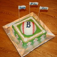 Baseball Birthday Cake   Buttercream base, fondant covered baseball and accents.