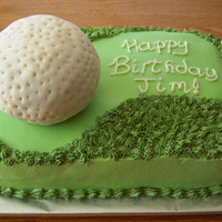 "Golf Birthday Cake   Key lime cake and key lime buttercream frosting with fondant covered cake golf ball and fondant ""green""."
