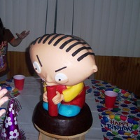 Family Guy Stewie Bobblehead Cake Stewie's body was sculpted out of RKT covered in modeling chocolate. His head was a WASC cake crumbcoated in Italian Meringue...