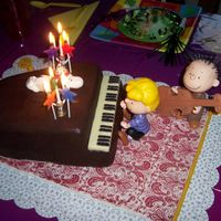 Snoopy Piano Cake Cake is chocolate devil's food filled with chocolate buttercream and covered with rolled chocolate (modeling chocolate). Snoopy is...