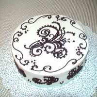 Scrolls And Flourishes First time scrolls and flourishes practice cake. Red Velvet and buttercream w/RI detail.