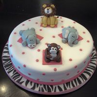 Baby Animals Baby Shower Cake. Hostess gave me a picture of a cake by Deds with the baby animals on top and asked if I would incorporate pink w/ zebra...