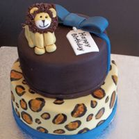 Jungle Animal For my sons 2nd birthday. King of the Jungle themed birthday.All SI fondant. Hand painted leopard spots with food coloring. Lion is fondnat...