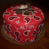 Cowboy Baby Shower paisley print on red fondant, gumpaste hat and boots