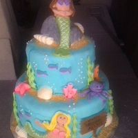 Mermaid Cake Everythings made out of MMF except the sea shells are white chocolate and sand is graham cracker crumbs
