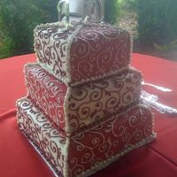 Red/white Sqaure Wedding Cake
