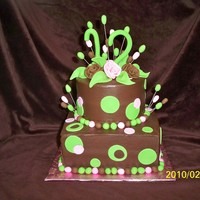 Chocolate Cake And Icing Lime green, and pink the number 12 of fondant and circles