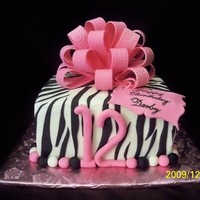 "Zebra Print Big Bow 8"" square white cake black zebra print big pink bow"