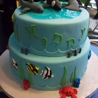 "Ocean Cake 10"" and 8"" offset. Peanut butter cake with chocolate filling.Sharks, Killer Whale & fish made of fondant.TFL!"