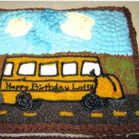 Birthday Cake For A Jack Of All Trades   This cake was done for a man that is the school bus driver, janitor(the mop bucket) and a farmer...I had to fit them all in one cake....