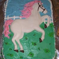 Horse Birthday Cake I baked this cake for my daughter's 6th birthday. The cake is covered with BC frosting. The horse is a cake mold, but I used white...
