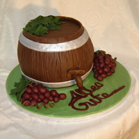 Wine Barrel Made for a good friend who enjoys red wine. Unfortunately I don't think this picture does the cake justice but it was all I had time...