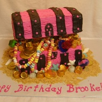 Treasure Chest Cake For Her Pink and Black for a young girl's pirate themed birthday.