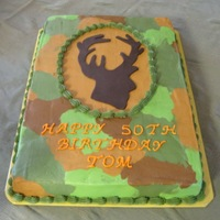 Deer Silhouette Made for my husband's 50th birthday. Almond cake and buttercream with fondant accent on deer silhouette.