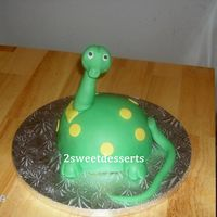 Dippy Dino   Half sports ball pan covered with fondantDebi Brown inspired