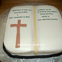 Bible This is my first time making a book cake. It's a bible verse on edible paper, fondant cross, coconut cake with coconut filling, and...