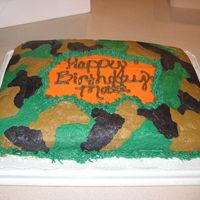 Camo Cake Camo Cake I made for my Son's 10th birthday, it was a big hit! Got theidea from Laura at CC! Thanks Laura, Matt loved it!