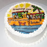 Key West Fondant painted picture hand painted with gel food coloring / whipped cream frosting