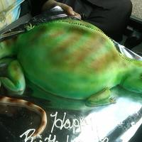 Norbert The Water Dragon Lizard My Niece wanted a cake made to look like her pet Water Dragon Lizard for her graduation/18th bday.... so this is what I came up with... his...