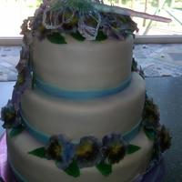 Dragon Fly In Pansies Wedding Cake My coworker needed a wedding cake for her daughter, unfortunately the reception was a very 'last minute' experience and so she...