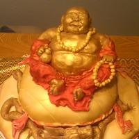 Budda Cake A friend of mine requested I make her husband a cake with a budda on it, this is what I came up with. Budda is rice crispy treats covered...