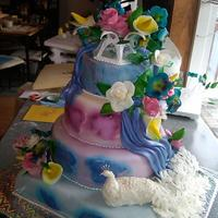 Peacock Retirement Cake I made this cake for my client who is retiring and is hosting her retirement party today... her only request was for blue pansies, the rest...