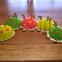 1 Year Caterpiller Cake   caterpillar cake using wilton ball pan, sugar cookies for name and legs