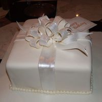 Side View Of Gift Birthday Cake