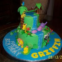 Jungle Safari Vacation This was a whimsical cake for a three year old boy who loved jungle animals. He loved it!