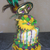 Mardi Gras Birthday Cake This cake was commissioned for a suprise birthday party of which the theme was Mardi Gras. She absolutely loved it! The cake and most of...