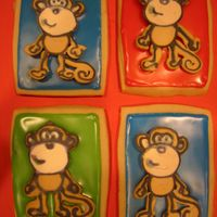Monkeys  These were made for Vacation Bible School....100 cookies. I tried to save some time by making royal icing animals ahead of time. Disaster....
