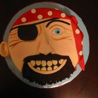 Arrrgy Matey!  Made for my nephew's 8th birthday. All fondant and made in a hurry! I'm going to add some more wrinkles on the right side tonight...