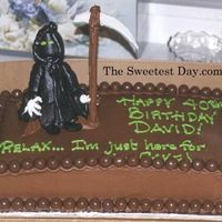 Grim Reaper Cake Fun for a Halloween Birthday, the grim reaper is an ice cream cone figure and means no harm......he's just there for the cake!