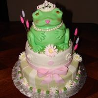 Froggy Baby Shower Theme white cake with strawberry filling with MMF top cake chocolate with raspberry filling covered in MMF Froggie is white cake covered in MMF...