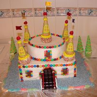 Castle Cake I´m very proud of my castle cake. It was covered with ready to roll icing and decorated with cup cakes, M& M&...