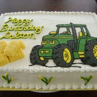 Tractor Birthday John Deere FBCT, fondant hay bales (from a playdough mold), whipped buttercream finish