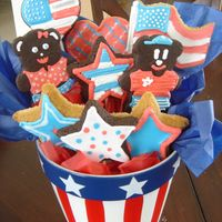 4Th Of July Cookie Bouquet Decorated with Royal Icing