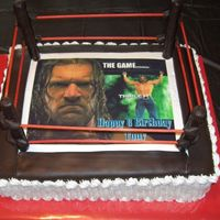 Wwe Cake 3 layer white and banna cake. Butterscotch icing. Candy clay used for the top of the ring and to cover pretzle rods for poles. The ropes...