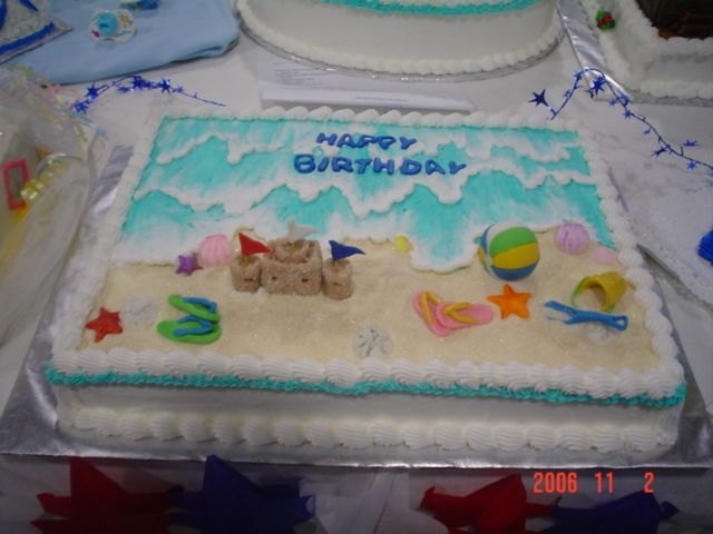 Beach Birthday All edible sculpted from fondant.