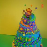 Monkey Topsy Turvy The monkey and decorations are fondant. I made the cake from the colors and pictures on the invitation.
