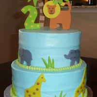 "Jungle Cake 10""/8"" BC w/MMF. I made the toppers to match the king of the jungle plates. I had huge problems transporting this one - hence the..."