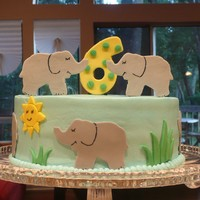 "Elephant Cake 8"" w/BC & fondant accents. Made for practice while trying out a recipe."