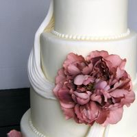 Dummy Cake For A Show Ivory fondant & draping. Silk flowers.